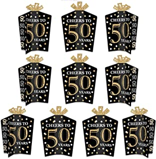 product image for Big Dot of Happiness Adult 50th Birthday - Gold - Table Decorations - Birthday Party Fold and Flare Centerpieces - 10 Count