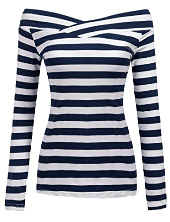 zuverlässige Leistung klassischer Stil viele Stile Zeagoo Damen Gestreiftes Shirt Schulterfrei Kurzarmshirt Off Shoulder  Oberteil T-Shirt Streifen Tops