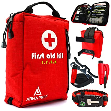 Compact First Aid Kit - IFAK Medical Kit with Labeled Compartments, MOLLE &  Survival Tools - Small First Aid Kit for Boat Car Camping Hiking Travel &