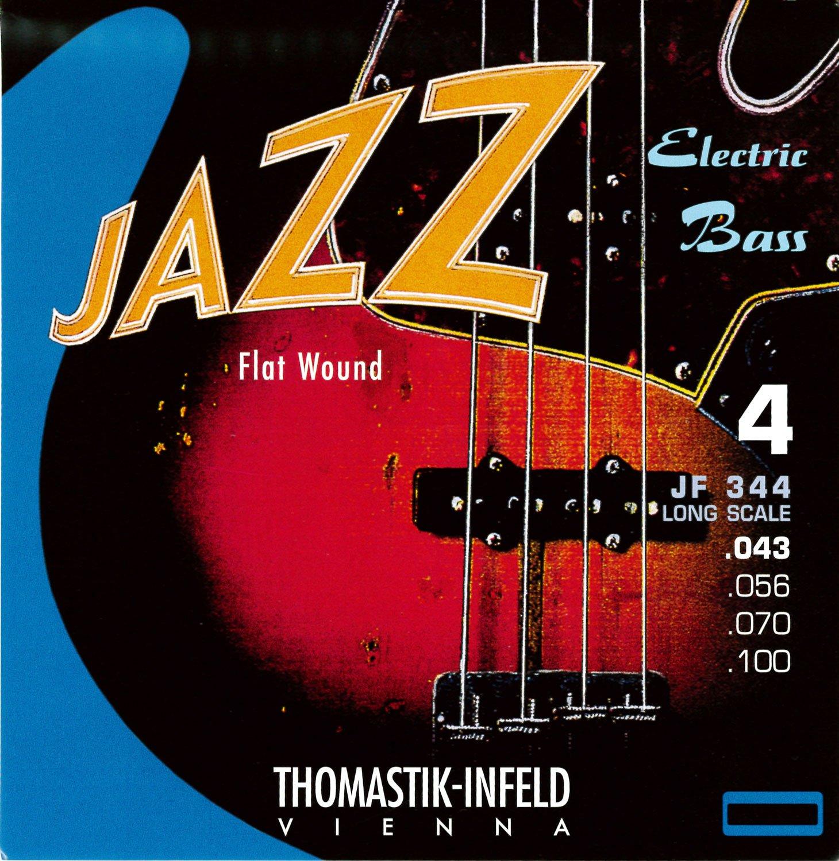 Thomastik-Infeld JF344 Bass Guitar Strings: Jazz Flat Wounds 4-String Long Scale Set; Pure Nickel Flats G, D, A, E Set