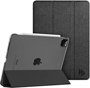 Dadanism New iPad Pro 11 inch 2020 Case 2nd Generation, Ultra Slim Translucent Frosted Hard Back Smart Trifold Stand Protective Cover, Auto Wake/Sleep [Support Apple Pencil Pair/Charging] - Black