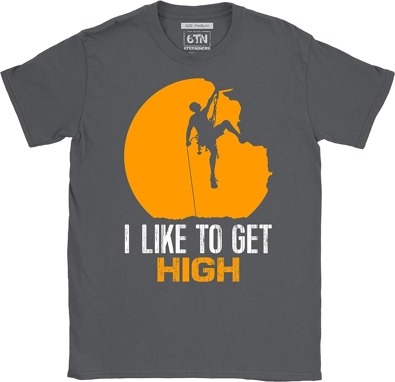6TN Hombre Camiseta de Escalada en Roca I Like To Get High Regalos Divertidos para escaladores