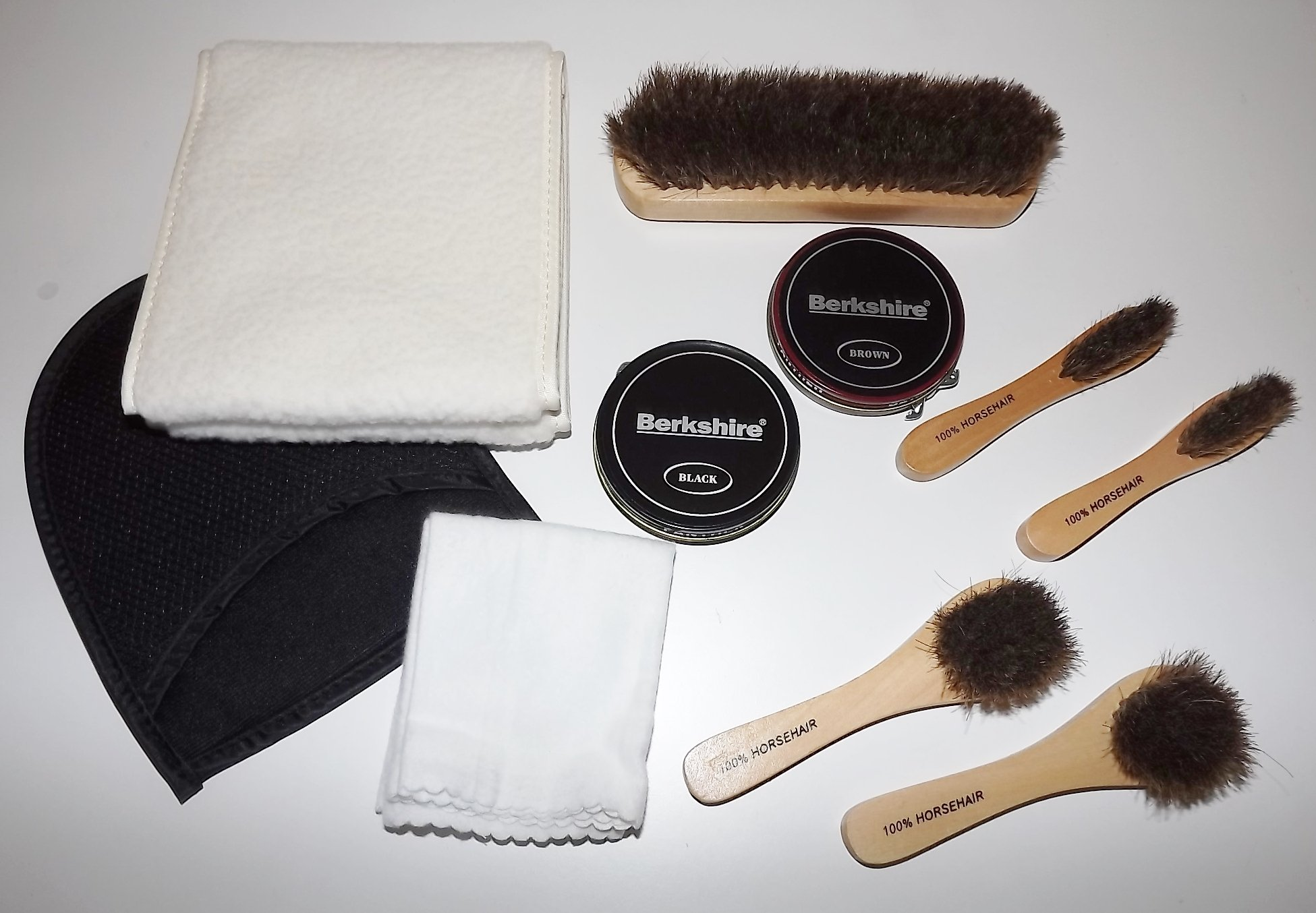 Berkshire Deluxe Shoe Shine Trunk Set with Brushes Polish and Polish Clothes