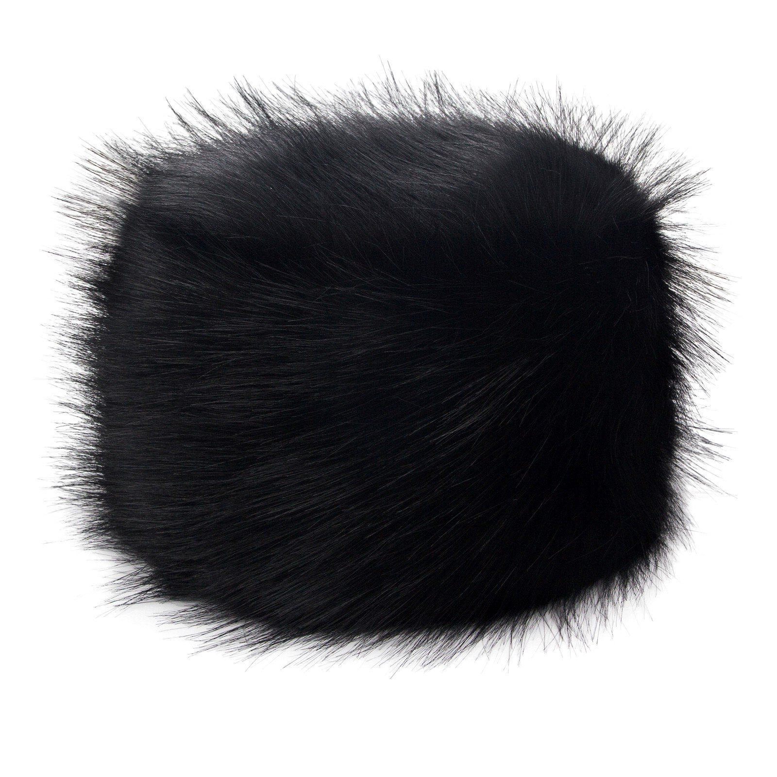 Futrzane Women's Russian Cossack Faux Fur Hat for Winter (M, Black)