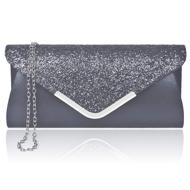 c7a79ccaea14 Larcenciel Women Clutch Bag Elegant Sequins Evening Clutch Purse Chain  Shoulder Bags Sparkly Black Evening Bridal Prom Party Handbag Purse:  Amazon.co.uk: ...