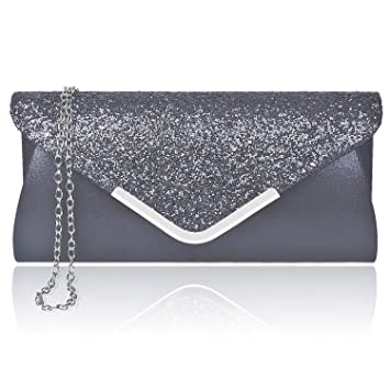 574f48149a Larcenciel Women Clutch Bag Elegant Sequins Evening Clutch Purse Chain  Shoulder Bags Sparkly Black Evening Bridal Prom Party Handbag Purse