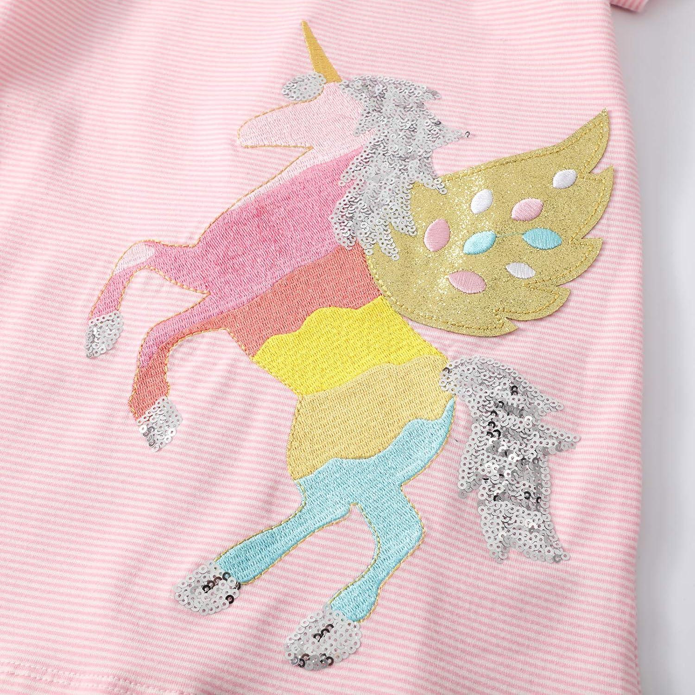 FILOWA M/ädchen Kleider Kinder Kleid Einhorn Pailletten Kurzarm Sommer Rosa T/üll Baumwolle Bunt Gestreift Bestickt Casual Festlich Kleidung Geburtstag Geschenk Alter 2 3 4 5 6 7 Jahre