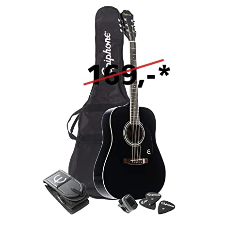 Epiphone FT-100 Player Pack - Pack guitarra acústica, color negro (Amazon Exclusivo