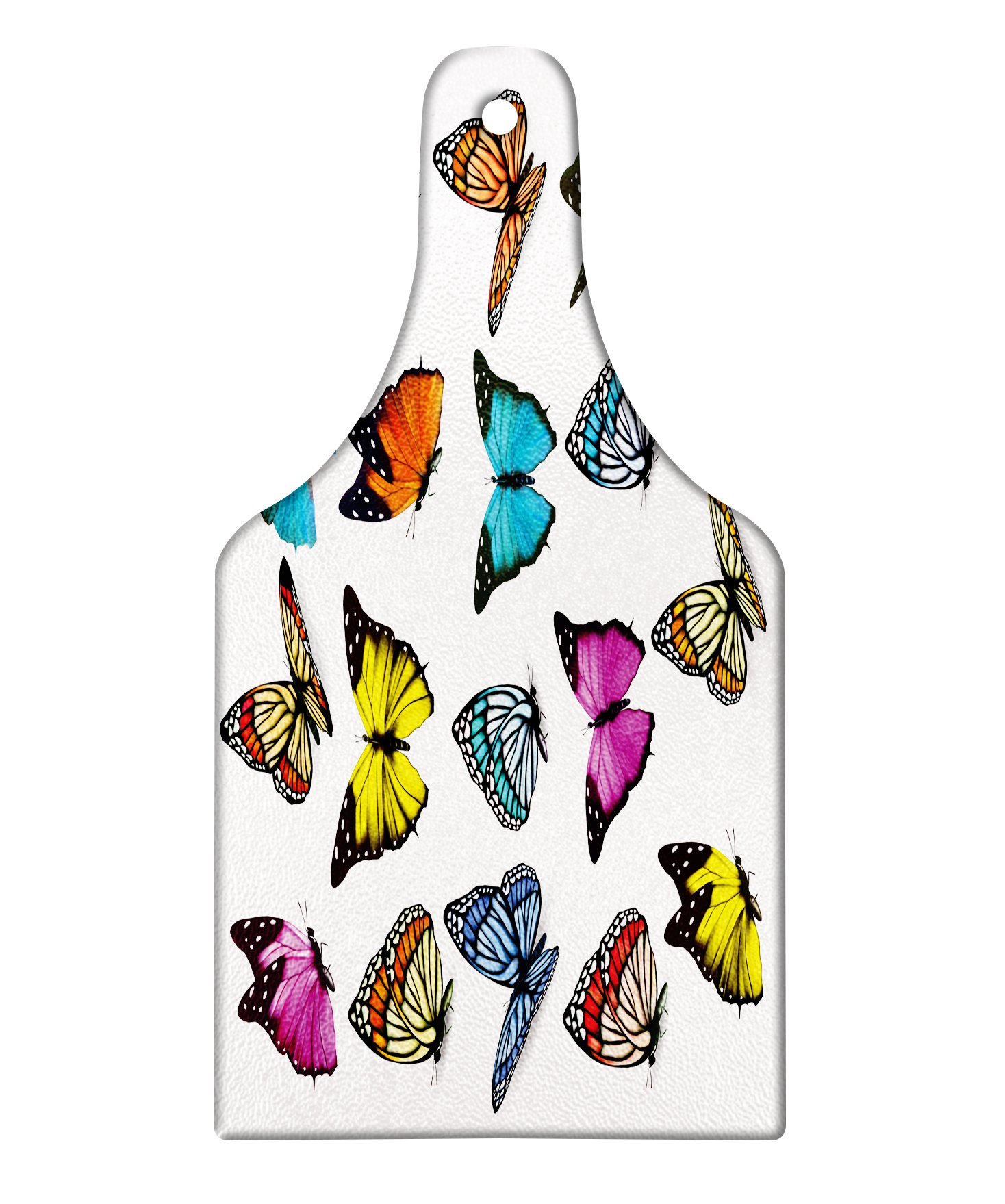 Ambesonne Animal Cutting Board, Big Collection of Colorful Butterflies Flying Artistic Composition Summertime Print, Decorative Tempered Glass Cutting and Serving Board, Wine Bottle Shape, Multicolor