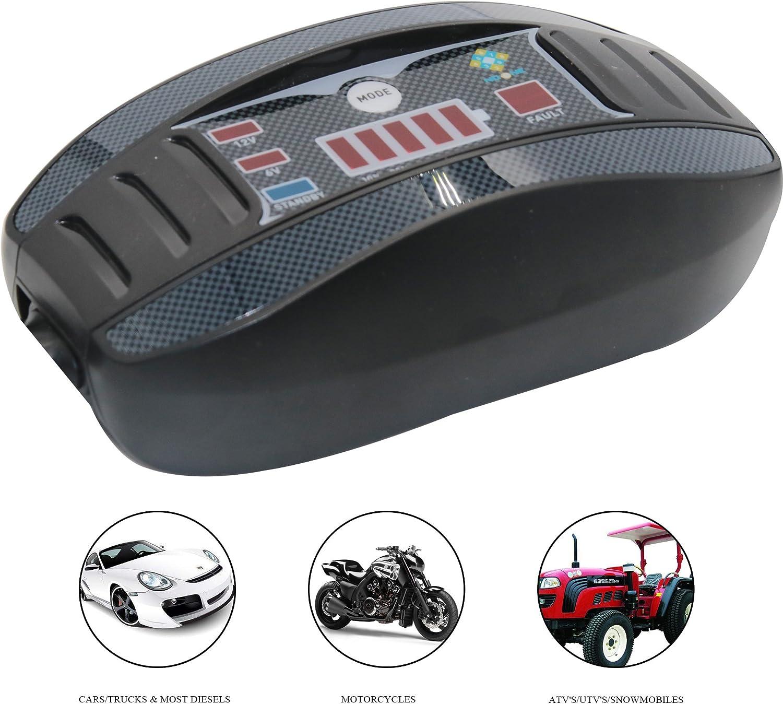 moto dacqua e motoslitte NoOne 6V moto 12V Caricabatterie e caricabatterie Smart da 1 Amp ultra sicuro con morsetti resistenti per auto