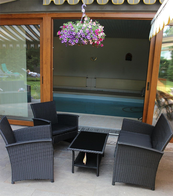 Amazon.de: Lounge Sitzgruppe 4-tlg anthrazit KYNAST Polyrattan ...