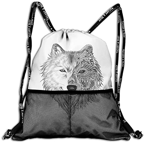 7f1938507b Image Unavailable. Image not available for. Color  Big Wolf Head Flowers  Unisex Large Sport Sack Drawstring Backpack Waterproof Stadium Shoulder Bags  ...