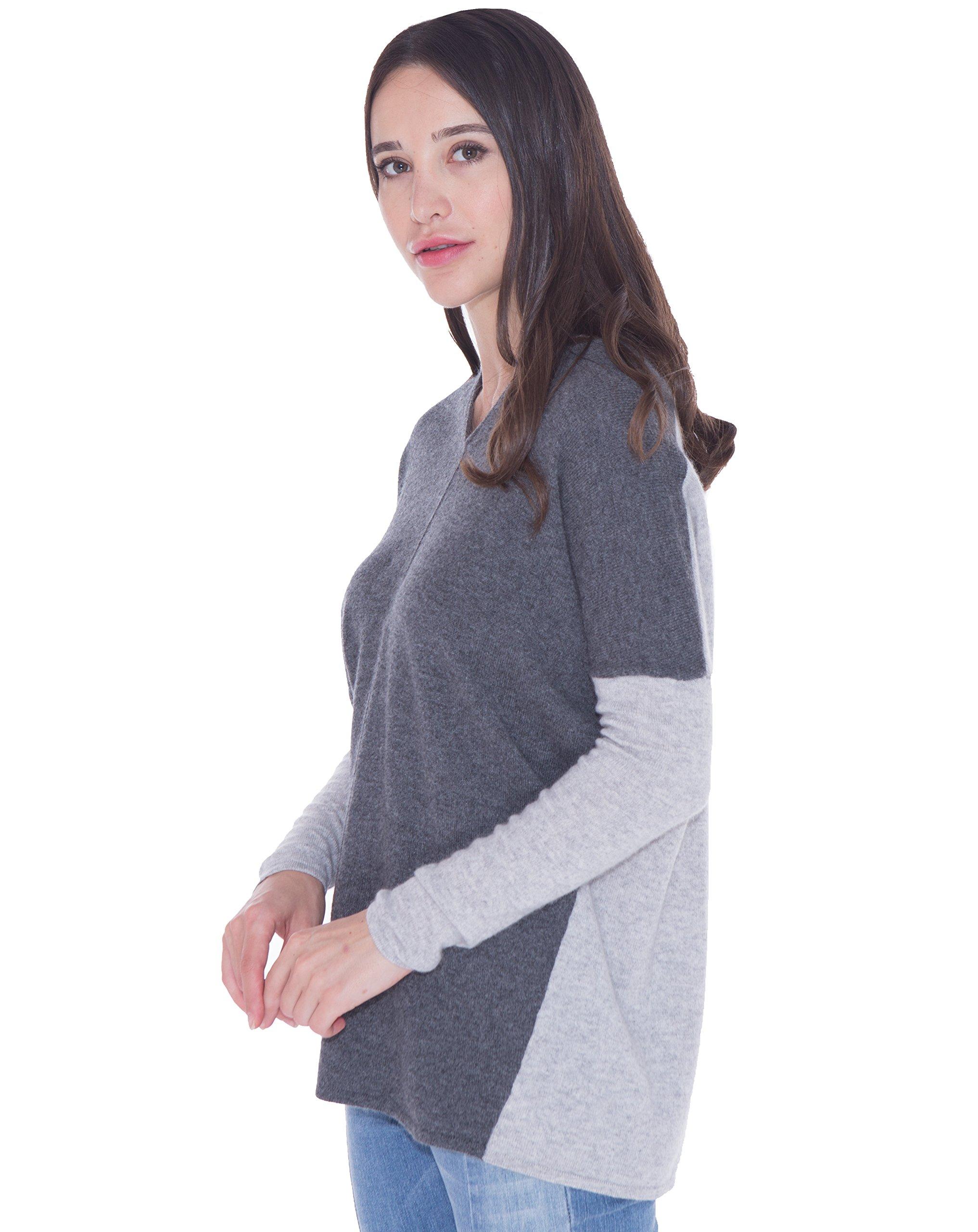 cashmere 4 U Women's 100% Cashmere V-Neck Sweater Pullover Loose Fit Dual-Tone Color