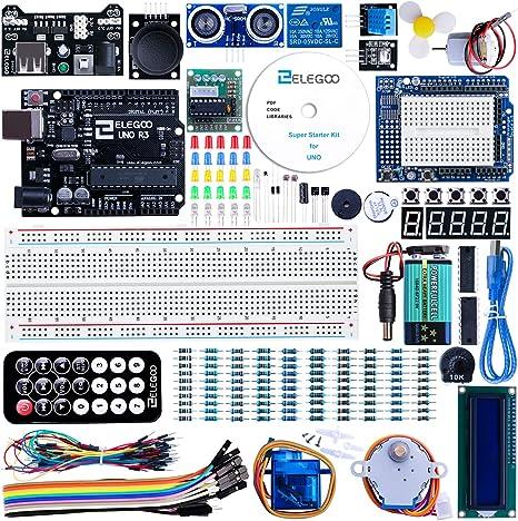ELEGOO Conjunto Medio de Iniciación Compatible con Arduino IDE con Tutorial en Español y Conjunto de Relé de 5V, Modulo de Fuente de Alimentación, Servomotor, UNO R3 Placa de Desarrollo de Prototipos: