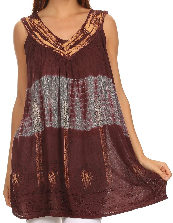 Sakkas Nita Batik Relaxed Fit Scoop Neck Sleeveless Top 5055861845968