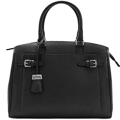 5d021067e3d6 Floto Rapallo Leather Handbag Shoulder Bag Crossbody in Blue Saffiano  Leather (Black)