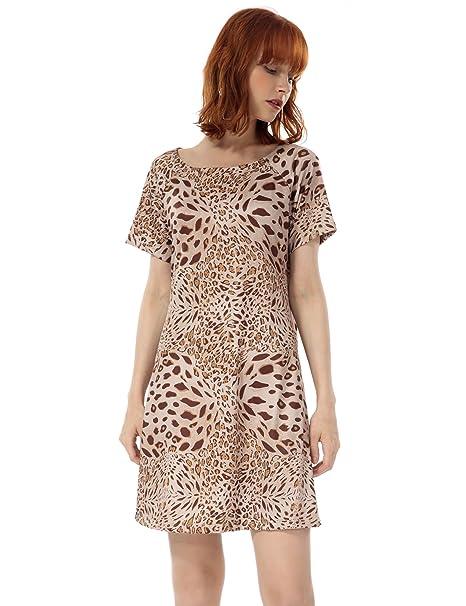 de559015263 OEUVRE Women s Leopard Pocket Tunic Dress Short Sleeve Casual Wear Brown 06
