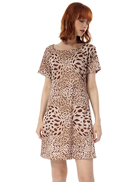 72ccad85ddf OEUVRE Women's Leopard Pocket Tunic Dress Short Sleeve Casual Wear Brown 06