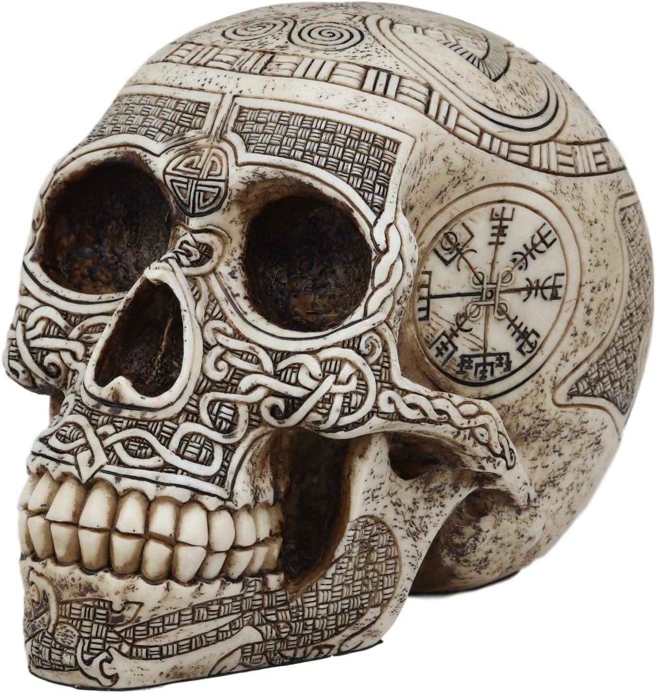 "Ebros Norse Mythology Viking Vegvisir Compass Talisman with Trinity Valknut Odin Skull Figurine 8"" Long Skeleton Head Skulls Ossuary Graveyard Macabre Halloween Decor"