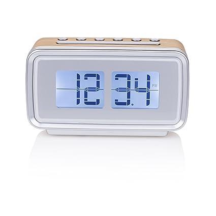 Smartwares CL-1474 – Reloj despertador, retro, radio FM, pantalla regulable