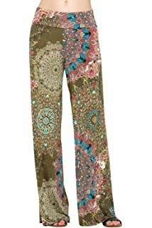 99378224f09 Popana Womens Comfy Chic Wide Leg Boho Print Palazzo Pants Plus Size ...