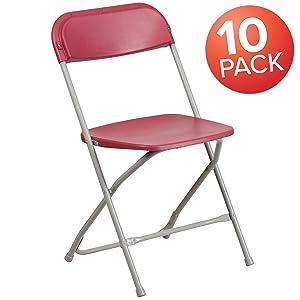 Flash Furniture 10 Pk. HERCULES Series 650 lb. Capacity Premium Red Plastic Folding Chair