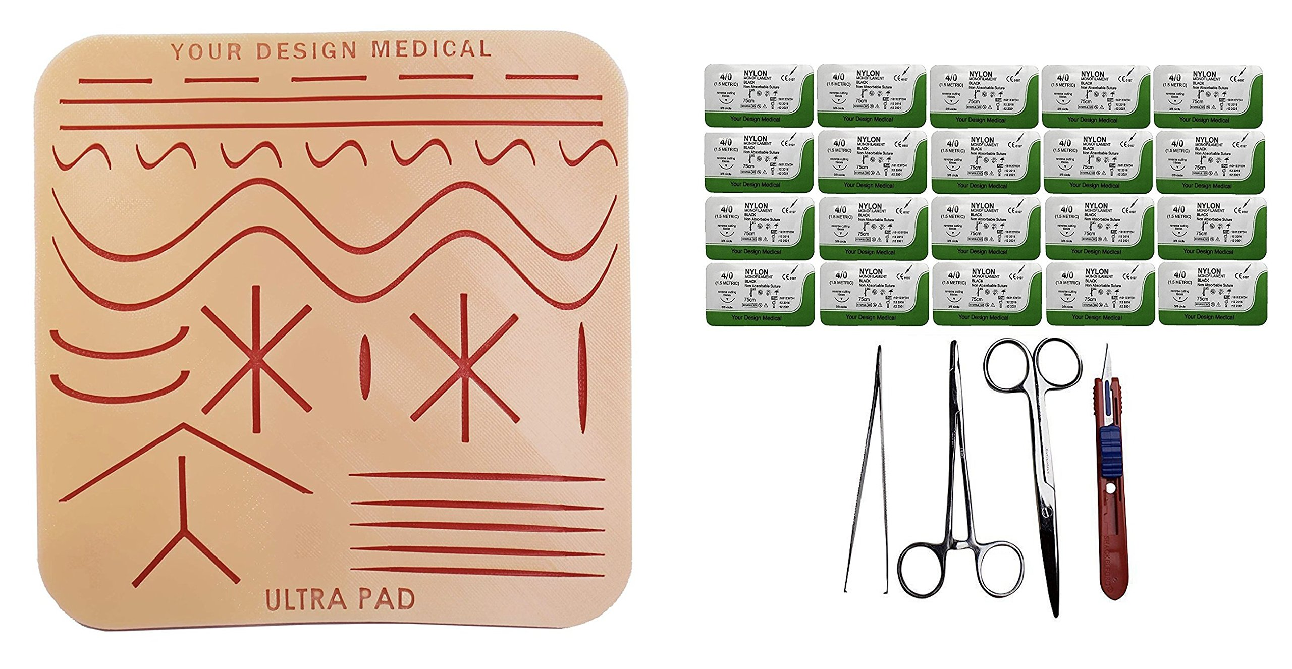 Your Design Medical Extra Large (8x8'') 3-Layer Silicone Suture Pad w/Wounds Suturing Practice Kit - Includes pad, Driver, Pickups, Scissors, Blade, 20x Nylon 4-0s & Educational Material by Your Design Medical
