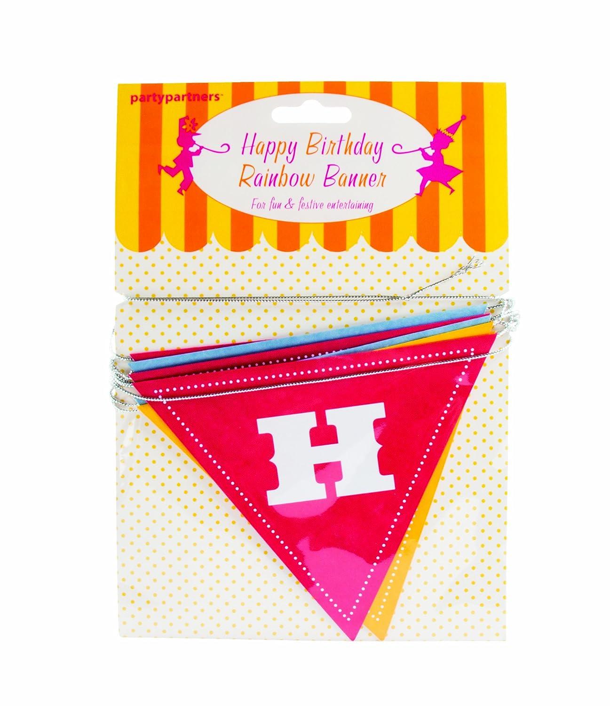 Amazon.com: Party Partners Design Rainbow Happy Birthday Flag ...