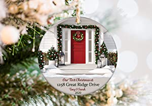 DKISEE New Home Ornament 2020 Personalized with Address and Names - First Christmas in New House Christmas Ornament Makes Great Housewarming Gift 3 inches