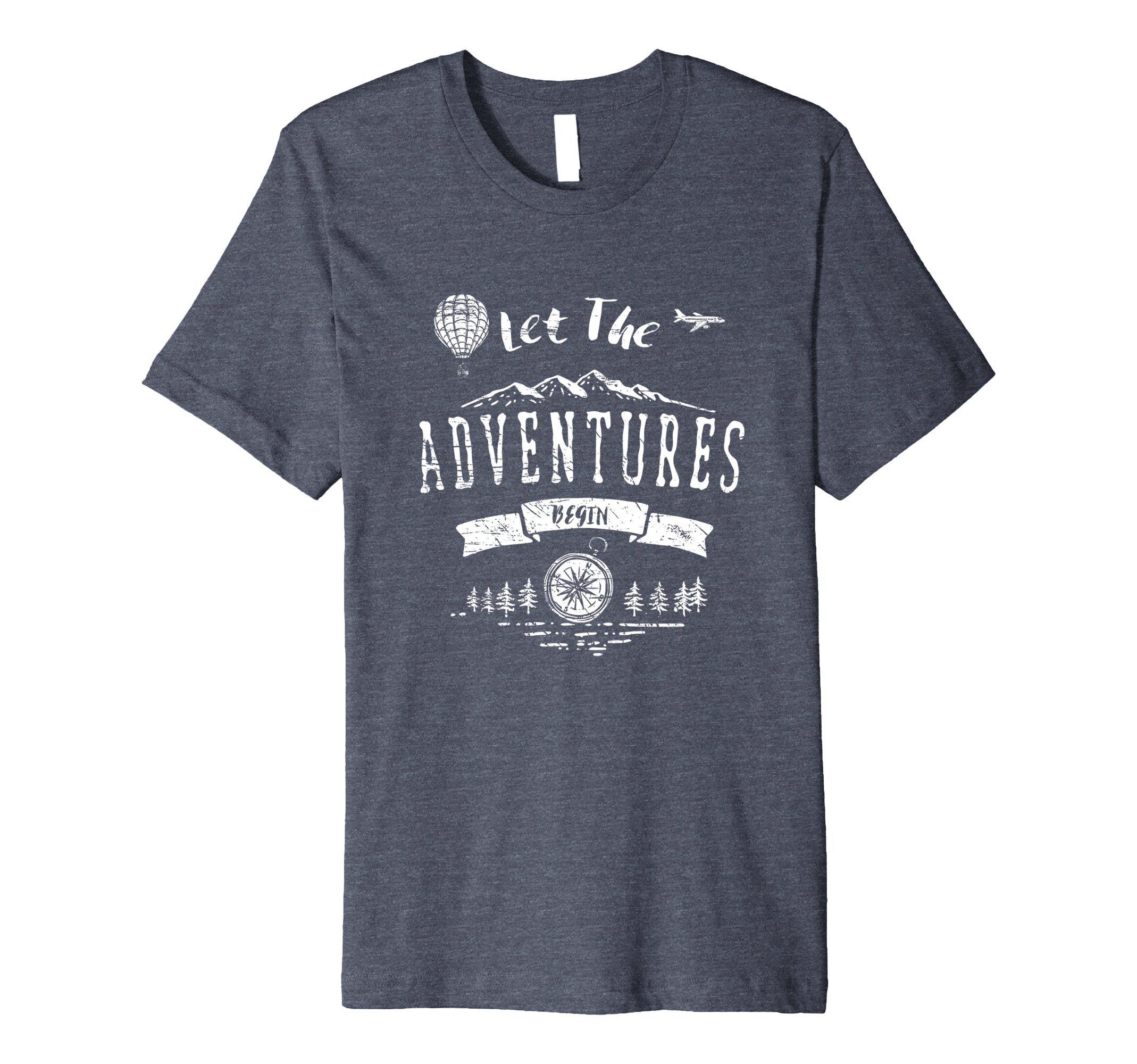 Mens Let The Adventures Begin T-Shirt Travel Explore Apparel 2XL Heather Blue
