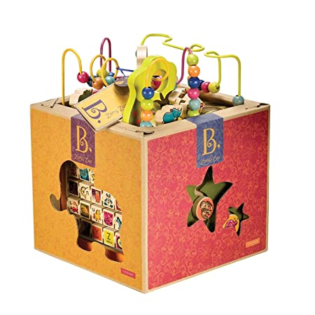 Amazon.com: B. Zany Zoo Wooden Activity Cube for Children Ages 1 ...