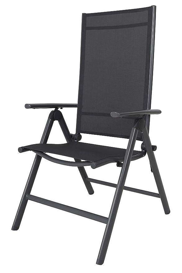 Chicreat silla plegable Sillón de aluminio ajustable de 8 direcciones, gris aluminio Sillón de jardín Sillón plegable