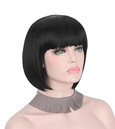 Amazon Com Short Wig Bob Straight Cut Natural Full Head Ombre Wigs