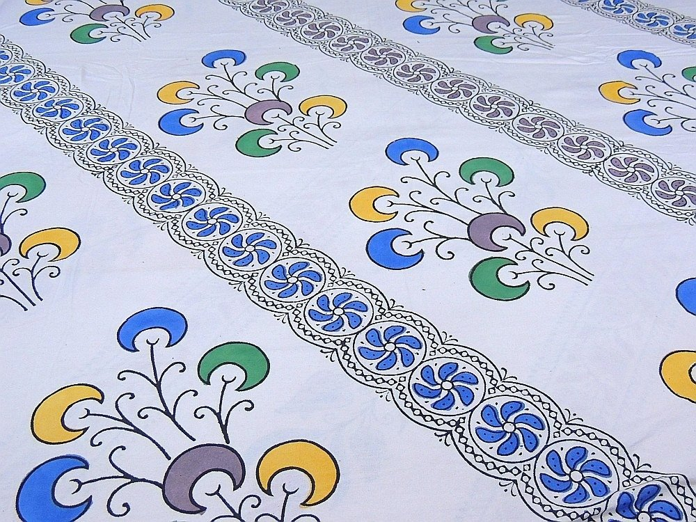 India Inspired Bedding Duvet White Block Printed Cotton Reversible Queen Linens by NovaHaat (Image #5)