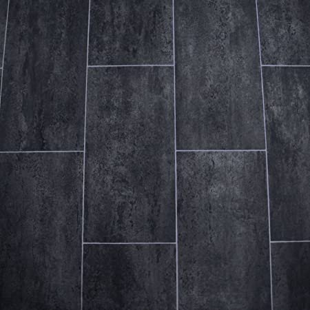 Pvc Flooring Tile Black Melbourne Noir Width 2 M 9 50 Eur Per Square Metre Amazon Co Uk Diy Tools