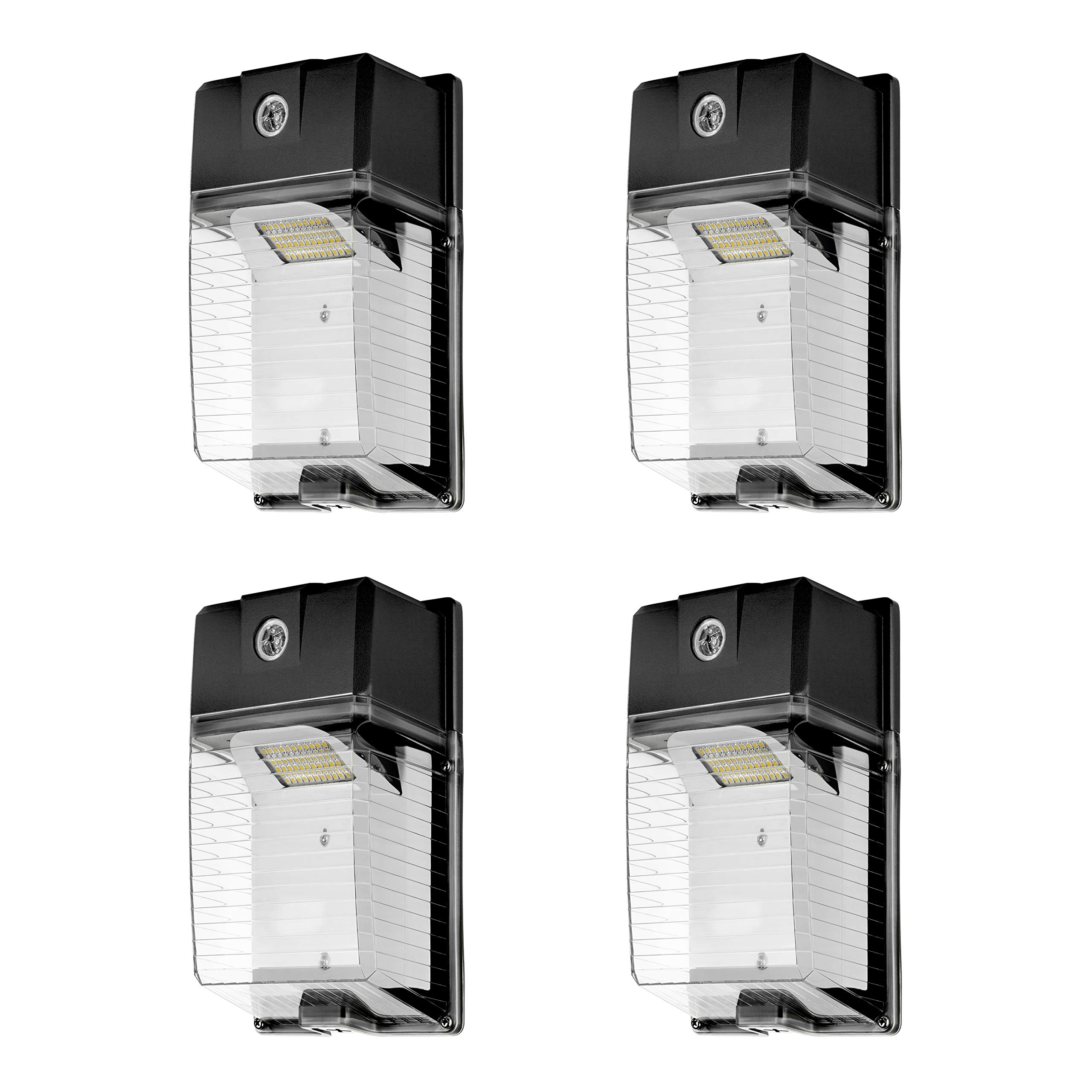 Hyperikon 30W LED Wall Pack Outdoor Light Clear Cover Photocell Included, 5000K (Crystal White Glow), 150W HPS/HID Equivalent, 3300 Lumens, IP 66 Weatherproof Led Security Area Lighting, UL (4-Pack)