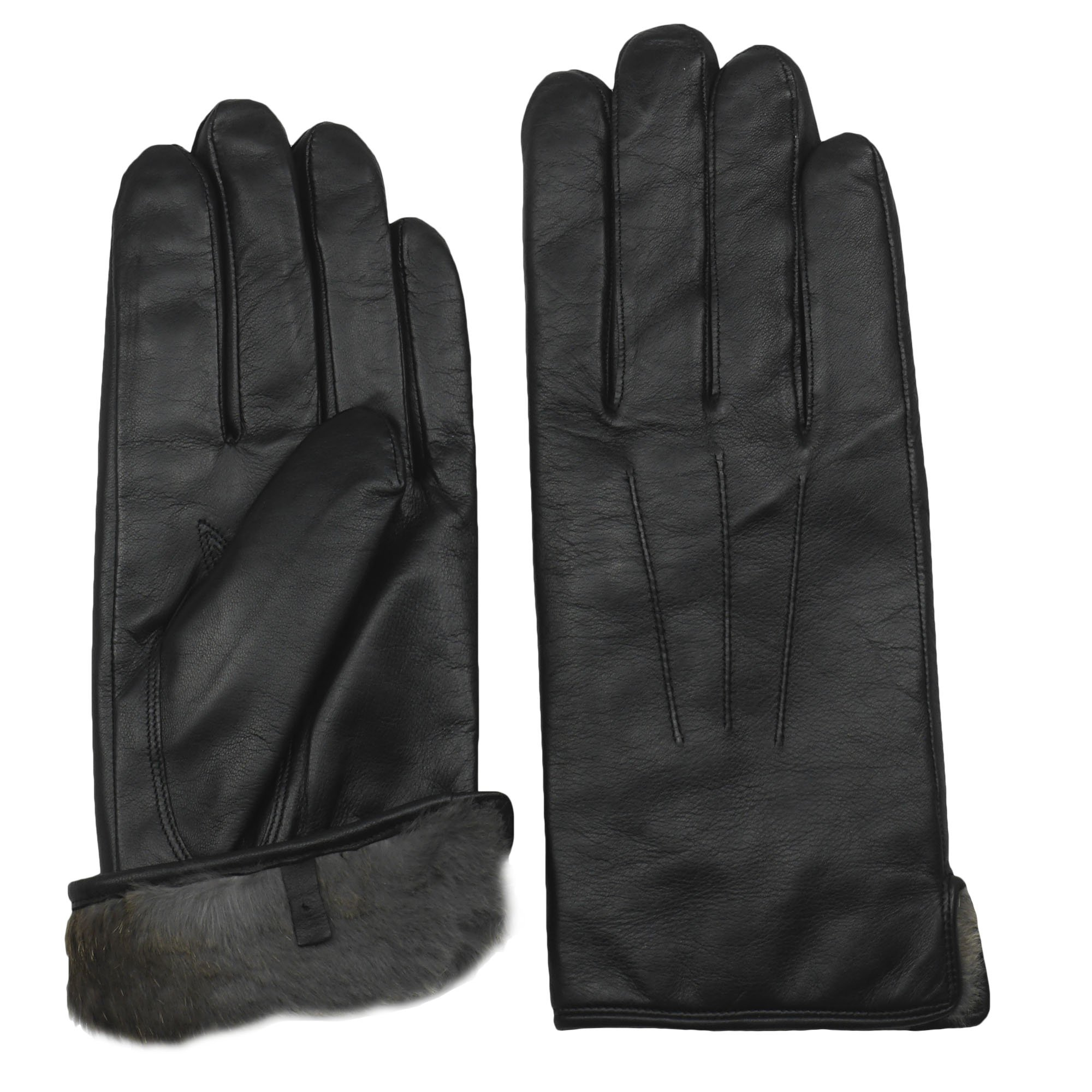 Men's Rabbit Fur Lined Sheepskin Leather Gloves by Arosa | Butter Soft Luxurious by AROSA (Image #1)