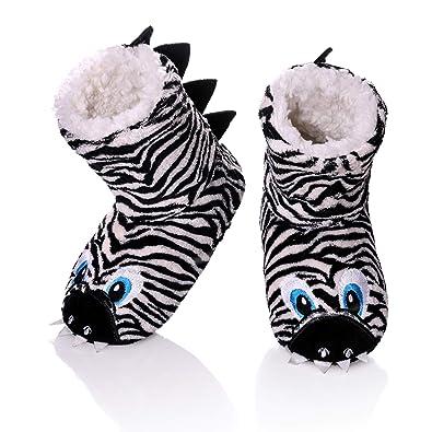 f07fba0346 FANZERO Kids Girls Boys Floor Slippers Cute Animal Soft Warm Plush Lining  Non-Slip House