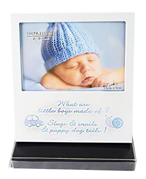 What Are Little Boys Made Of Photo Picture Frame New Baby 1st Birthday Gift