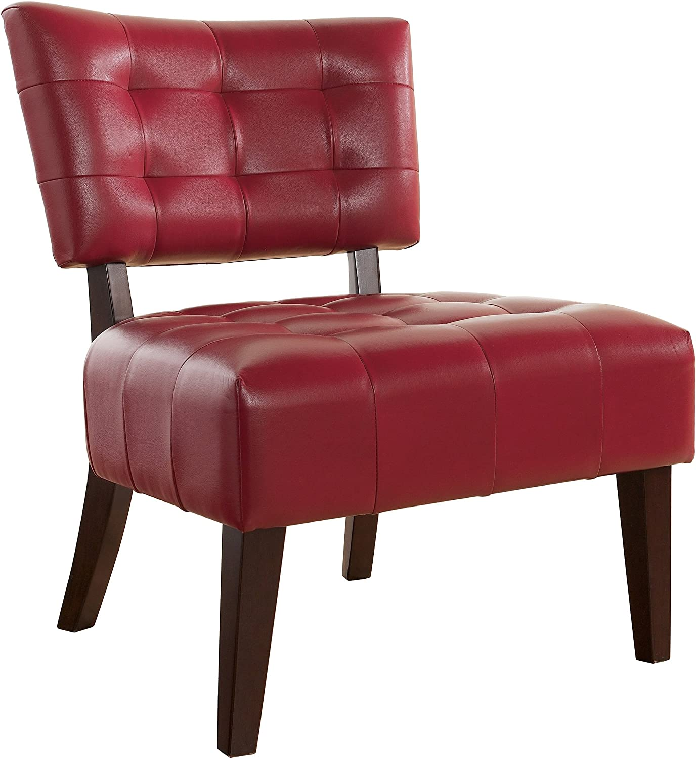 Roundhill Furniture Blended Leather Tufted Accent Chair