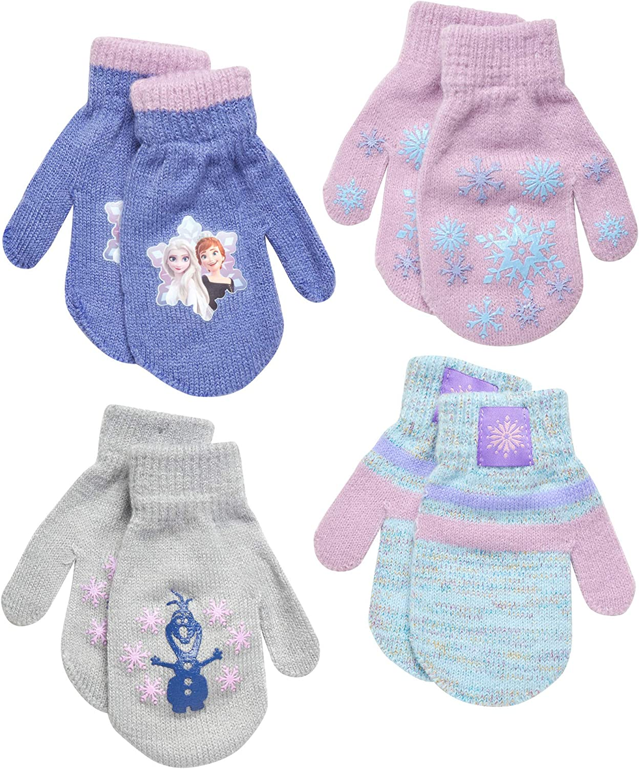 Disney Frozen Girls 4 Pack Gloves or Mittens (Toddler/Little Girls)