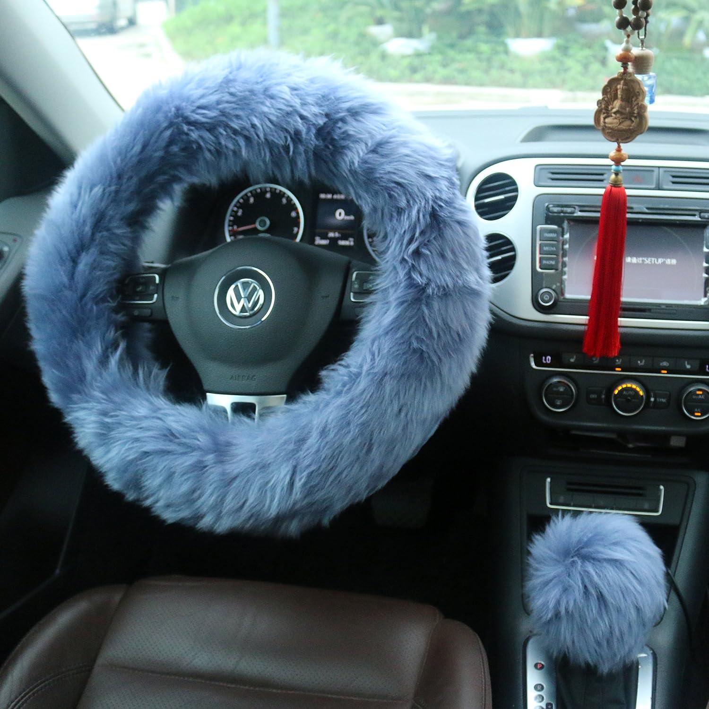 Ogrmar Winter Warm Faux Wool Steering Wheel Cover with Handbrake Cover & Gear Shift Cover for 14.96' X 14.96' Steeling Wheel in Diameter 1 Set 3 Pcs (Black)