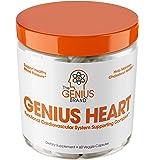 Genius Heart & Cardiovascular Health Supplement – Cholesterol Lowering Vein & Blood Pressure Support w/Grape Seed Extract, Vitamin K2 MK7 & CoQ10 – Antioxidant Energy for Men & Women,60 Veggie Pills