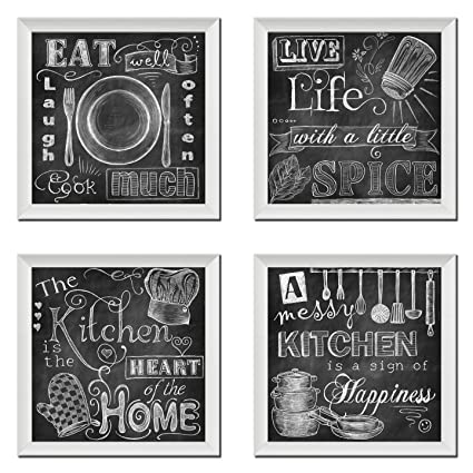 Gango Home Decor Beautiful Fun Chalkboard Kitchen Signs Messy Kitchen Heart Of The Home Spice Of Life And Cook Much Four 12x12in White Framed