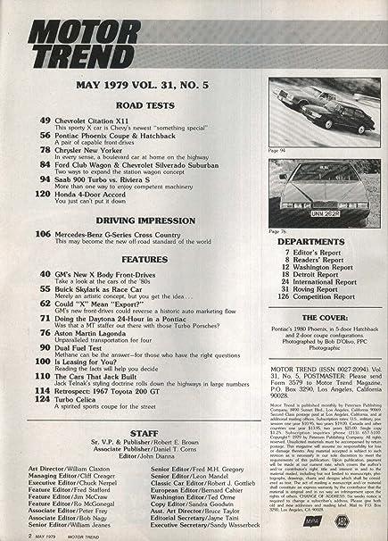 Amazon Com Motor Trend Citation Pontiac Phoenix New Yorker Saab 900