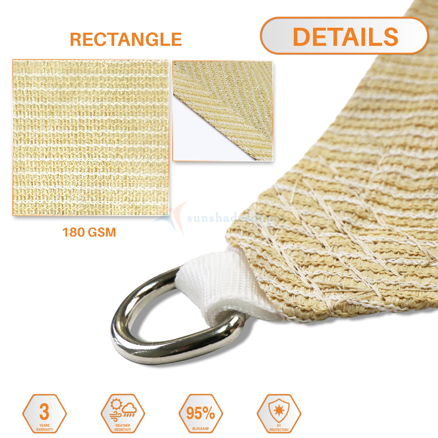 Sunshades Depot 16 x 20 Sun Shade Sail Rectangle Permeable Canopy Beige Customize Commercial Standard 180 GSM HDPE