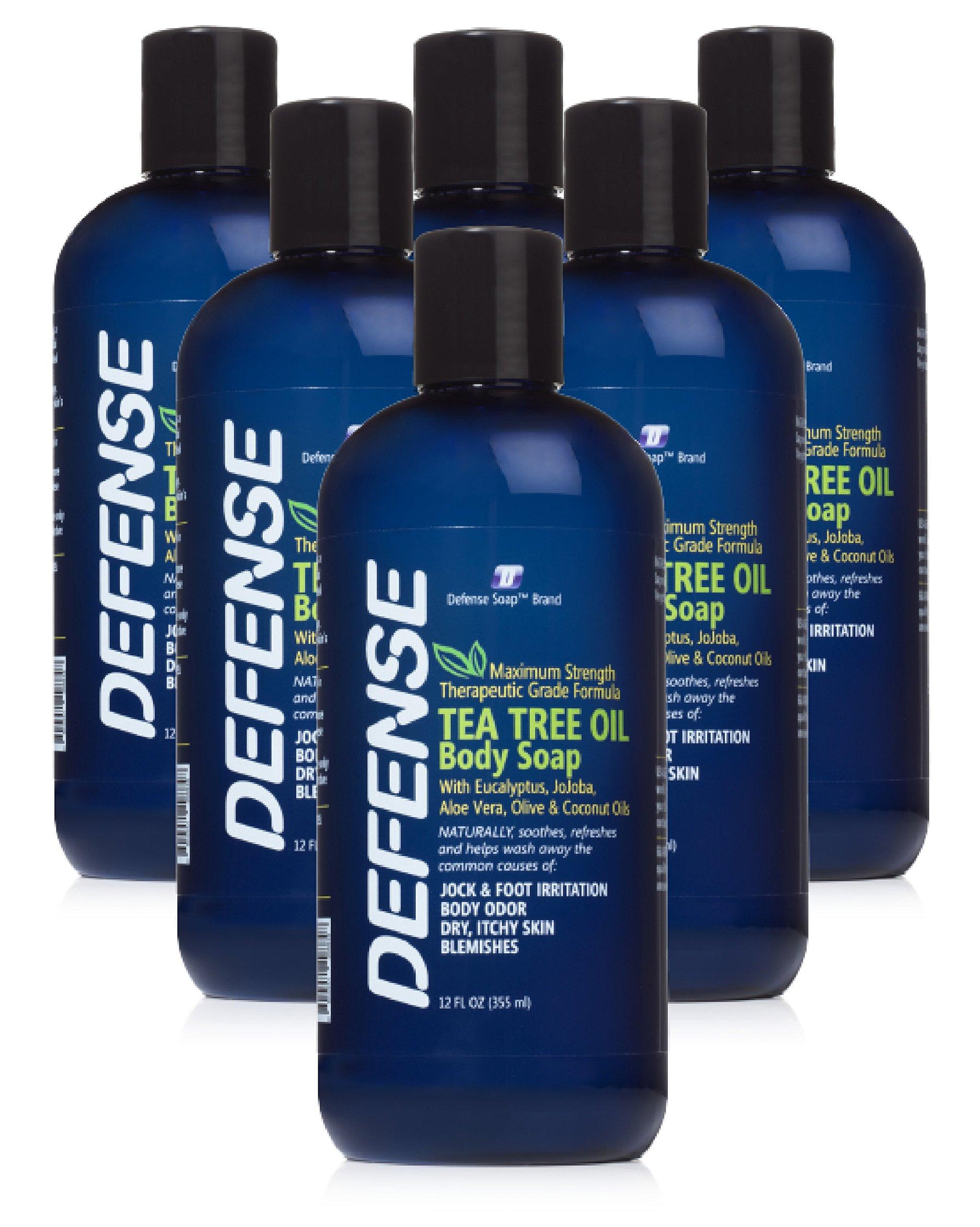 Defense Soap Body Wash Shower Gel 12 Oz (Pack of 6) - Natural Tea Tree Oil
