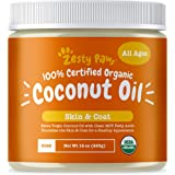 Zesty Paws Coconut Oil for Dogs - Certified Organic & Extra Virgin Superfood Supplement - Anti Itch & Hot Spot Treatment - fo