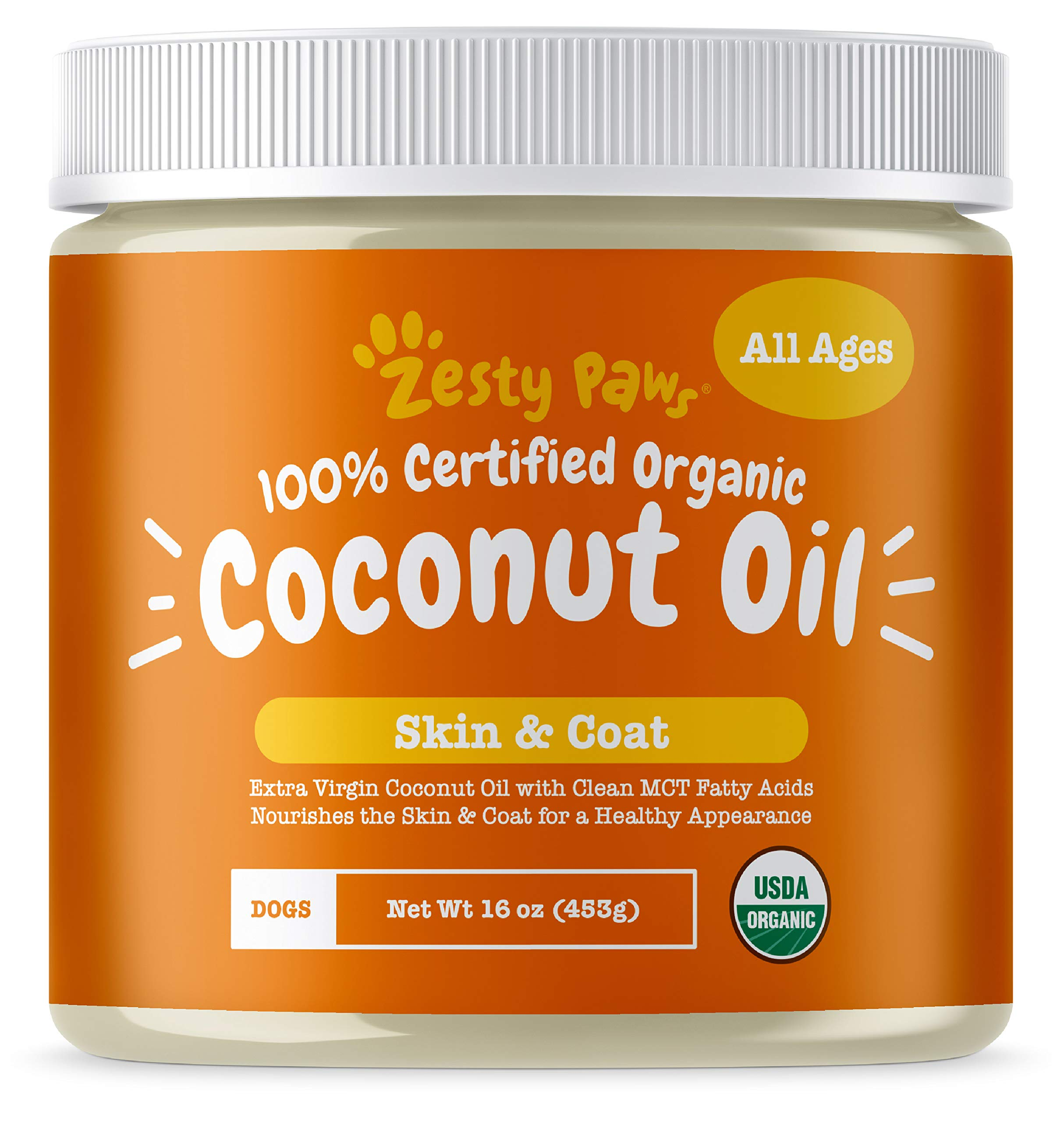 Zesty Paws Coconut Oil for Dogs - Certified Organic & Extra Virgin Superfood Supplement - Anti Itch & Hot Spot Treatment - for Dry Skin on Elbows & Nose - Natural Digestive & Immune Support - 16 OZ by Zesty Paws
