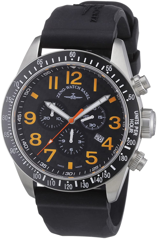 Zeno Watch Basel 6497-5030Q-s15 - Reloj analógico de Cuarzo para Hombre con Correa de Piel, Color Negro